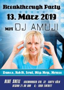 Breakthrough Party mit DJ Amuji am 13. März 2019 im Blue Shell in Köln